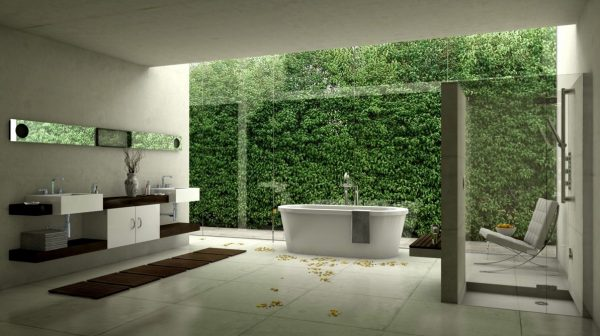 modern bathroom design with garden wall