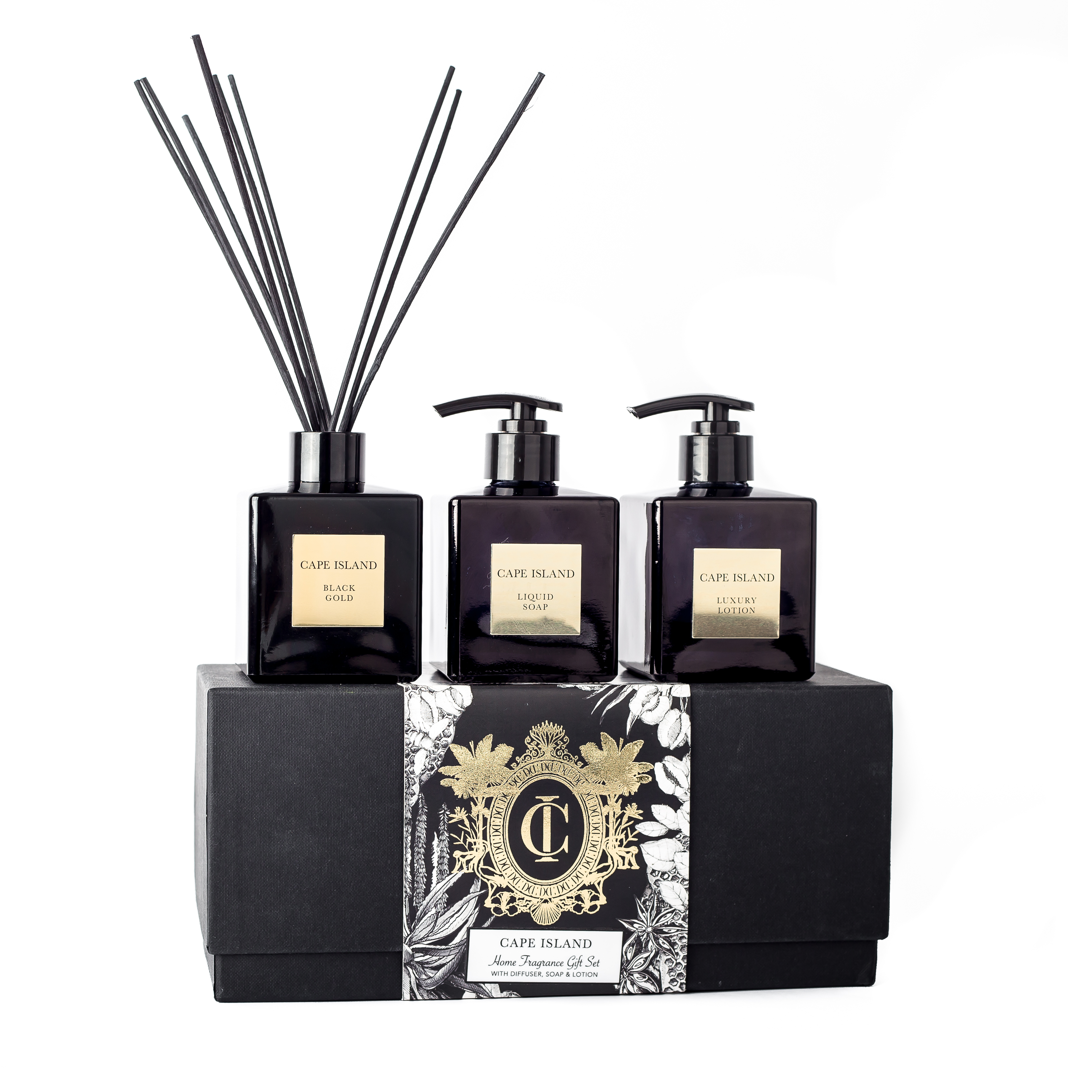 Black Gold Soap, Lotion and 150ml fragrance diffuser